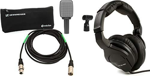 Sennheiser e 609 Silver Dynamic Guitar Microphone and XLR Cable Bundle + Sennheiser HD 280 Pro Closed-back Studio and Li