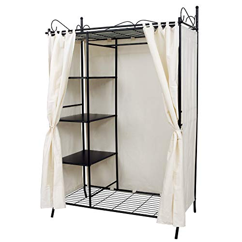 Songmics RTG03H metalen kledingkast, vouwkast, garderobekast met gordijn, 170 x 108 x 58 cm, zwart