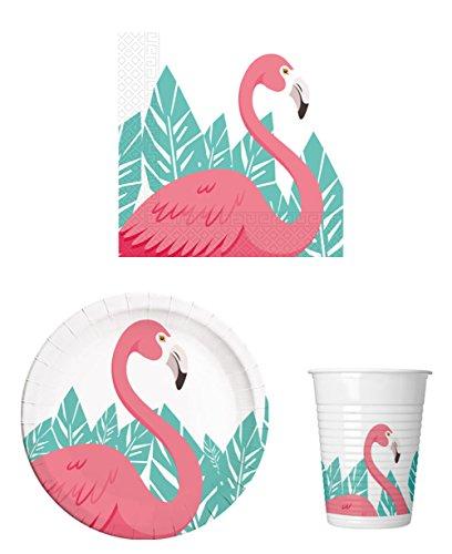 Unbekannt 52 Teile Party-Geschirr Set Flamingo - Mottoparty Kinder-Geburtstag - Teller Becher Servietten für 16 Personen