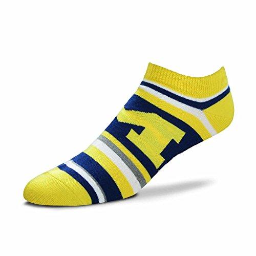 For Bare Feet Michigan Wolverines Adult NCAA Lotta Stripe Socks - Team Color, Large