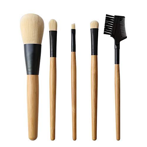 Pinceau de maquillage en bambou poignée 5 pinceau de maquillage avec noir élégant sac cosmétique Matériel fiable