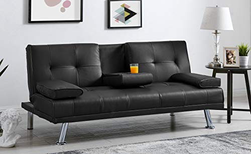 BRAVICH Modern Manhattan BLACK Cinema Faux Leather 3 Seater Sofa Bed Folding Table Couch Settee Click Clack Sofa Bed Recliner Bed Sofa