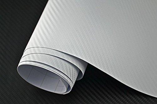 Neoxxim 3,29€/m² Auto Folie - 3D Carbon Folie - Weiss 100 x 150 cm - Meterware blasenfrei mit Luftkanälen Premium