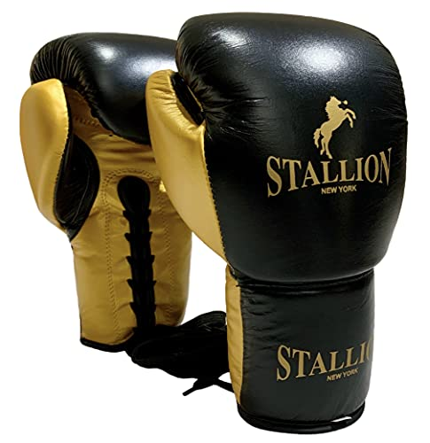 STALLION NEW YORK All Pro Boxing Gloves - Classic Power Series - Leather Boxing Gloves for Competition & Training Sparring/Bag - Lace Fight Gloves - Quality Boxing Gear - Black-Gold / 10oz