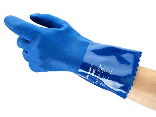 Ansell Alphatec 23-200 Arbeitshandschuhe aus PVC, Zugelassen für Lebensmittelkontakt, Hervorragende Flexibilität bei Niedrigtemperaturen, Gerautes Profil für Guten Nassgriff, Größe 8/M (12 Paar)