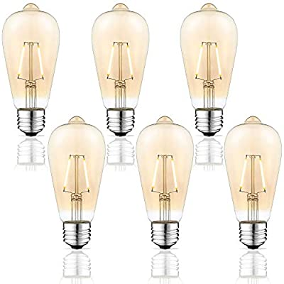 2 Watt Dimmable LED Edison Light Bulbs - 2W Antique Style Softlight Edison LED Bulbs - Warm White 2200K (Amber Gold Glass) for Home - Filament Vintage Light Bulb Set - E26 Standard Base - 6 Pack