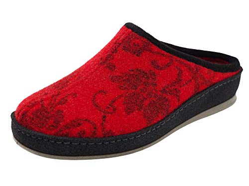 Schawos Filz Hausschuh für Damen, Qualitäts-Pantoffel, Made in Germany, mit anatomisch geformtem Fußbett und aktiver Fersendämpfung, Modell SP (40 EU, Rot (71F), Numeric_40)