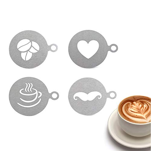 Coffee Stencils, 4 Pcs Stainless Steel Coffee Stencils Barista Cappuccino Arts Personalized Stencil Garland Mould Cake DIY Decorating Tool