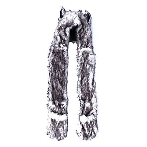 Sombrero de animal con bufanda invierno cálido felpa con capucha bufanda con guantes de pata (blanco y negro)