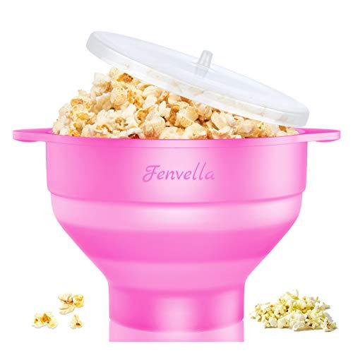 Fenvella Popcorn-Popper, Mikrowellen-geeignet, Popcorn-Maker aus Silikon, BPA-frei und spülmaschinenfest, Popcorn-Schüssel mit Deckel und Griff für Zuhause