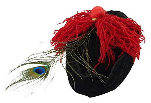 Black Hat avec pompons rouges et Peacock Feather - Déguisements / Costume (HW212)