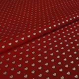 Hans-Textil-Shop Stoff Meterware Herzen Hearts Gold auf Rot
