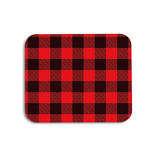 AOYEGO Plaid Mouse Pad Classic Lumberjack Checkered Gingham Lattice Square in Red Black Gaming Mousepad Rubber Large Pad Non-Slip for Computer Laptop Office Work Desk 9.5x7.9 Inch