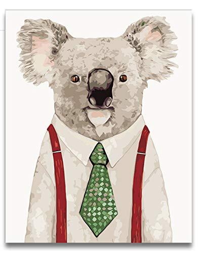 Diy Färbung Malen Nach Zahlen Koala, Cowboy-Katze, Doktor Katze Bilder Gemälde Von Zahlen Cartoon Tiere 40X50Cm