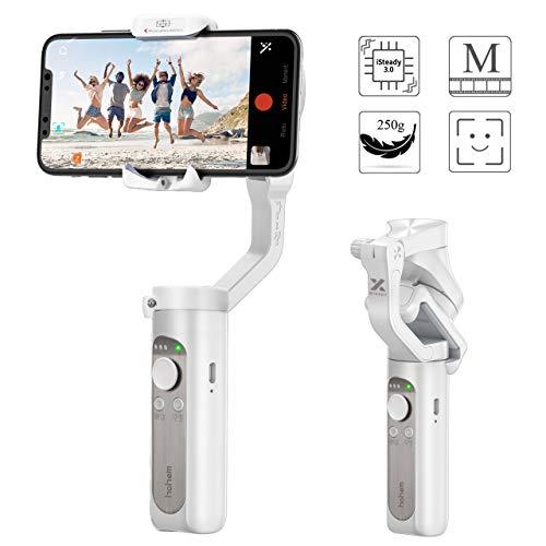 Gimbal Smartphone - Stabilisateur Smartphone Pliable à 3 Axes Supporte Jusqu'à 280g, Stabilisateur de Cardan Contrôle Intelligent Léger Portable pour iPhone11 Pro/XR/XS Max, Samsung Galaxy,Huawei