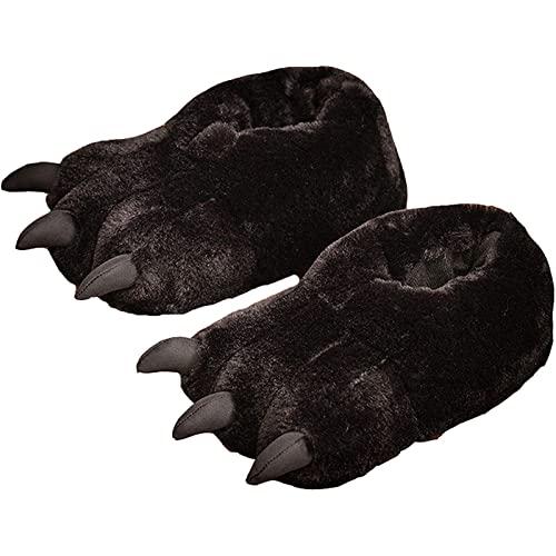 GQFGYYL Mujer Zapatillas Caucho Suela Zapatillas Casa con Felpa Cálido Antideslizante de Invierno para Interiores y Exteriores,Negro,One Size