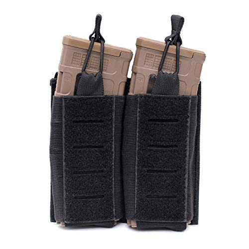 Double Mag Pouch Molle Open-Top Double Magazine Pouch for M4/M16/AR/AK Rifle Magazines (Black)
