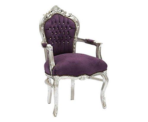 Sillón barroco Luxury de madera hoja plata terciopelo violeta