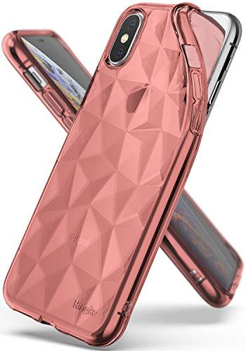 Ringke Air Prism für iPhone XS Hülle, Weich Silikon TPU Schutzhülle mit 3D Prisma Effekt Dünn Stoßfest für iPhone X- Rose Gold Rosa