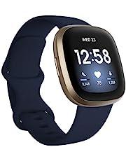 Fitbit Versa 3 - Smartklockan med GPS, pulsmätning 24/7, Active Zone Minutes, röstassistent och upp till 6+ dagars batteritid, Midnight / Soft Gold