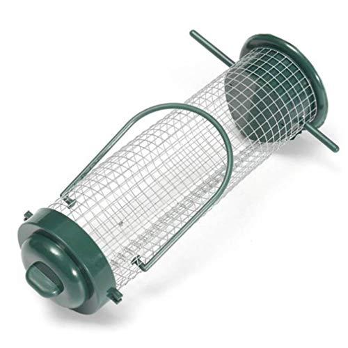 Yesiidor comedero de pájaros de metal, tamaño grande, cilíndrico, portátil, para colgar pájaros