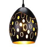 SUNVP Pendant Light Modern Black Hollow Design Iron Ceiling Hanging Lamp Minimalist Style for Kitchen Island Dining Room, Living Room, Bedroom, Coffee Bar