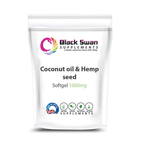 Black Swan Coconut Oil & Hemp Seed 1000mg Softgel – Natural Supplement for Weight Loss and Joint Health (30 softgel)