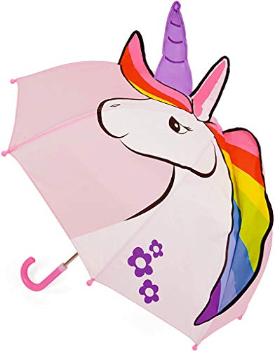 Gimbles New Drizzles Kids Childrens Rain Cover 3D Dome Animal Umbrella with Crook Handle (Unicorn B Pink 338)
