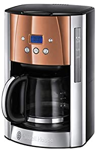Russell Hobbs Luna Filter Coffee Maker 1.8 Litre Programmable Coffee Machine with Timer and Auto Keep Warm, Copper, 24320