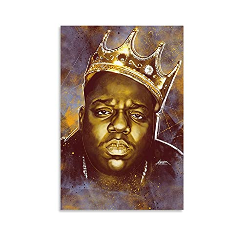 Singer Biggie Smalls Crown Canvas Poster Painting Decorative Wall Posters Pictures Gift Wall Bedroom Live Room Personalized Art Decor for Men Women Teens 24×36inch(60×90cm)