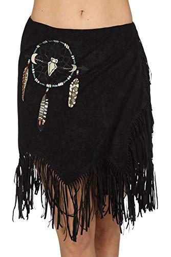 shoperama Fransen Wickelrock Wildleder-Optik Indianerin Squaw Damen-Kostüm Wilder Westen Rock Traumfänger Karneval Fasching, Farbe:Schwarz
