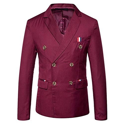Herren Doppelreiher Sakko Blazer Anzug Jacke Smart Smoking Slim Festlich Fit Herrenmode Mantel Hochzeit Elegant Outerwear Anzugjacken Herbst (Color : WineRed, Size : 2XL)