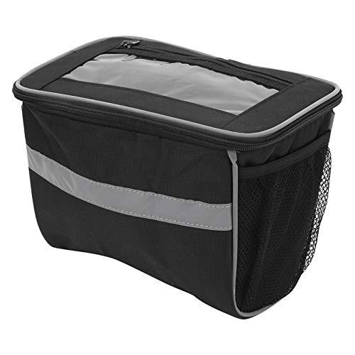 Sanpyl Front Beam Bag, langlebig und verschleißfest mit Zwei seitlichen Netztaschen, 3 Klettverschlüssen Lenker-Korbtasche für die Aufbewahrung von Flaschen zu Hause