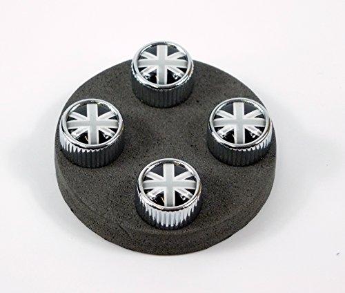 Garage-SixtySix 4 Ventilkappen Modell Chicago Motiv: UK schwarzweiß