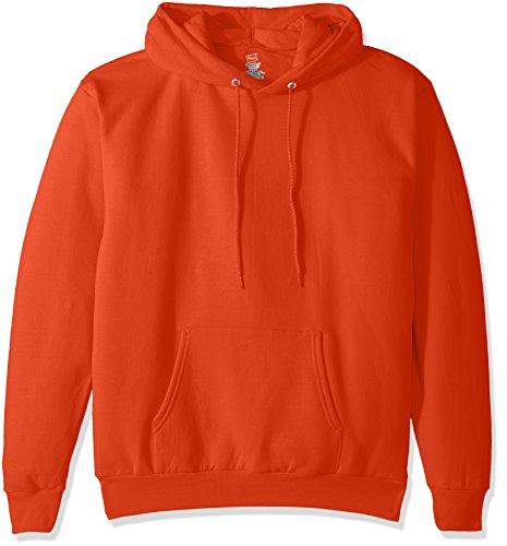 Hanes Men's Pullover EcoSmart Fleece Hooded Sweatshirt, Orange, Large
