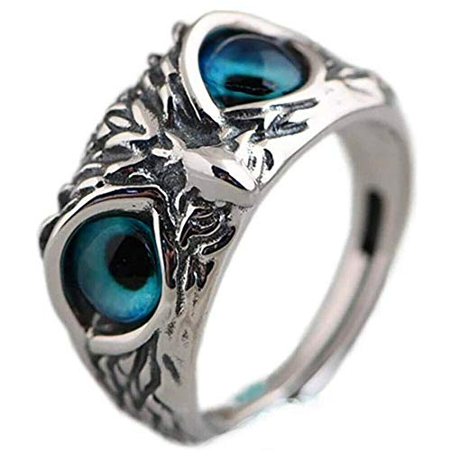 EveryoneFdly 925 Sterling Silver Demon Eye Owl Ring Animal Open Adjustable Ring Statement Ring Jewelry Gift for Women and Men A