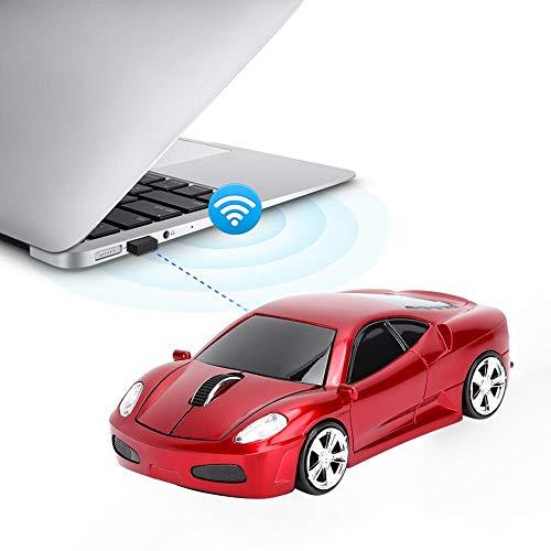 Wendry Mouse Wireless,per Ferrari Modello di Auto Creative Mouse Mouse Wireless 2.4G 1200 DPI per Notebook,Universale,Confortevole Sensazione della Mano del Pulsante,Ricevitore Nano 2.4g(Rosso)