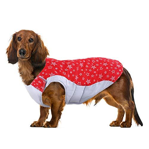 Kuoser Dog Winter Coat Fleece Lining Extra Warm Dog Jacket,Small Medium Dog Vest Reflective Adjustable Puppy Coats Apparel for French Bulldog, Pug, Dachshund XL
