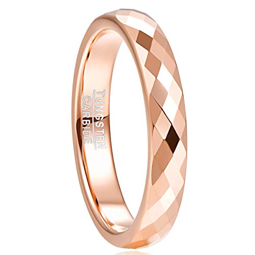 NUNCAD 4mm Rose Gold Tungsten Carbide Ring Multifaceted Wedding Ring Polished Finish Size S½