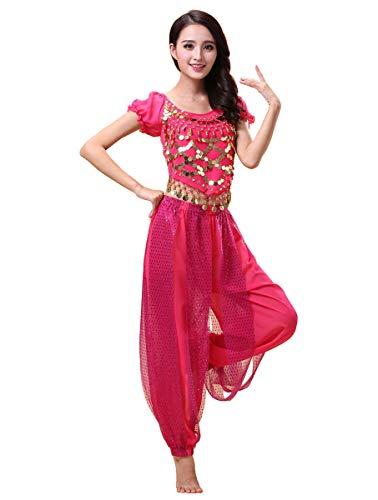 Grouptap Bollywood Indian Princess Theme Bauchtanz 2-teiliges Kostüm Set Outfit für Frauen Mädchen mit Oberteil und Hose (150-170cm, 30-60kg) (Rosa)