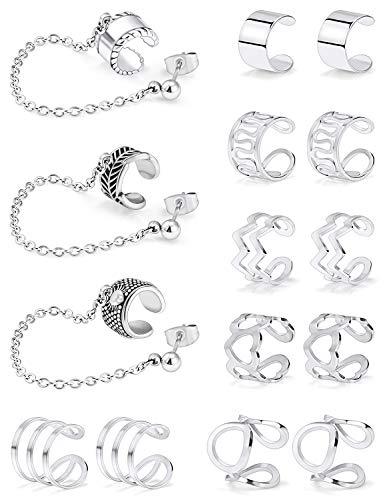 SCERRING Ear Cuff Fake Lip Helix Cartilage Clip On Wrap Earrings Non Piercing Earring Jewelry Set For Women Girls Stainless Steel 15PCS Silver