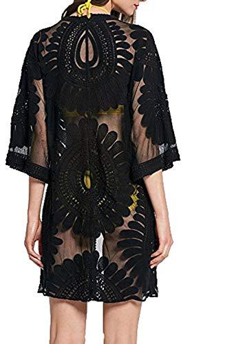 Eghunooye Damen Crochet Kimono Cardigan Bikini Cover Up, Vorzüglich Spitzen Strandpocho Kaftan Strandkleid,Boho Beachwear Kleid für Urlaub Strand (Schwarz, Einheitsgröße)