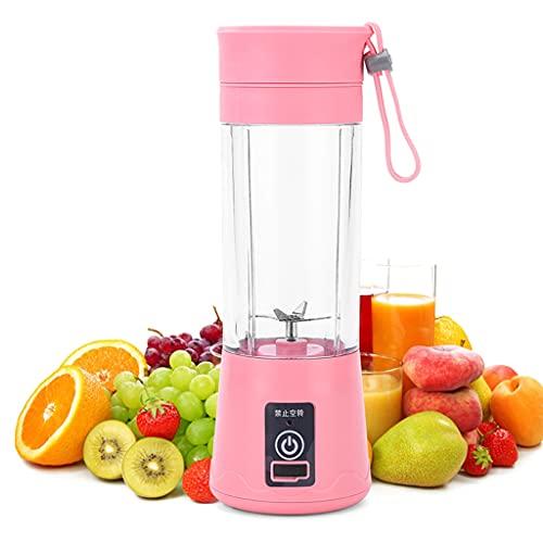 XKMY Juicer Cup batidora portátil para jugo de frutas 4 6 cuchillas, mini USB recargable multifuncional para el hogar, jugo o estudiante licuadora (color: rosa, voltaje (V) : 4 cuchillas)