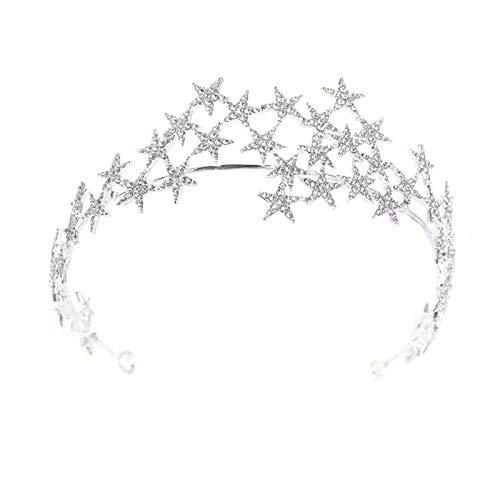 Bling Rhinestone Star Crown Headbands for Women Teens Girls Birthday Wedding Silver Star Tiara Bridal Hair Pieces