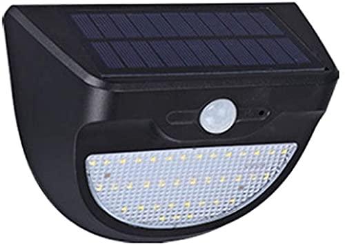 Lámpara de pared a prueba de polvo a prueba de agu Sensor de movimiento solar Luz de seguridad a prueba de agua a prueba de agua Luz solar con energía solar Blanco 38 LED Montado en la pared Luz de la