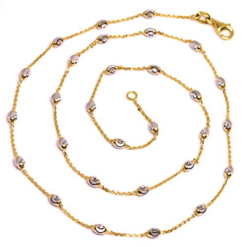 Chain, necklace in 18K Rose Gold, 750, alternating rolo link with white oval worked balls, diameter 3 mm, length 40. MADE IN ITALY