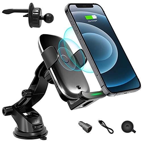 ATOTO Freeholder 1 telefono Caricabatterie wireless da auto& Supporto - Supporto per presa d'aria/parabrezza -Per iPhone selezionati e Samsung Galaxy S20 / S10 / Note20 e altro (abilitato Qi)