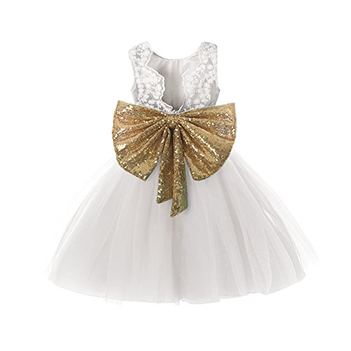 White Flower Girl Dresses for Girls 7-16 Wedding Bridal Gold Sequin Tulle Tutu Dress Party Princess Pageant Ball Gown Size 10-12 6T A Line Backless Birthday Elegant V Back Gowns 7 Years (White 140)