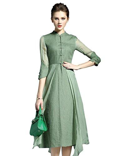 "LAI MENG Damen Vintage 3/4 à""rmel Knopfleiste vorne Casual Rockabilly 2 in 1-Design Kleider Knielang in 3 Farben, Grün, 40 (Asien XL)"