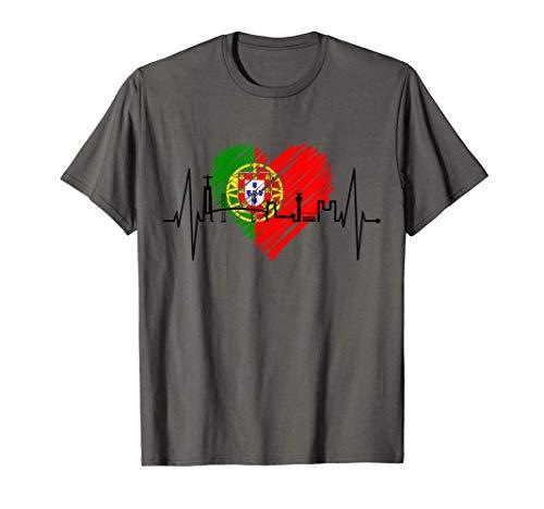 Lisboa Horizonte Latido Corazón Bandera De Portugal Skyline Camiseta